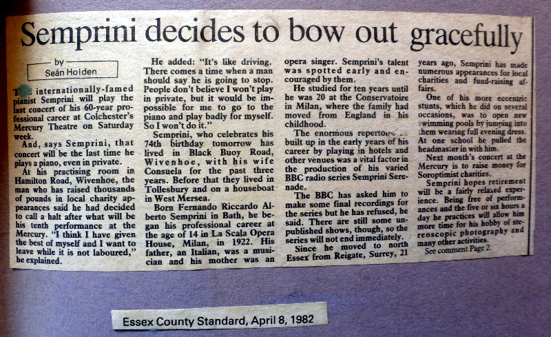 Article from the Essex County Standard published in April 1982 (from Clive Peck)