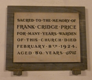 The tablet in St Mary's Church commemorating Frank Price's service as a Churchwarden | Photo by Peter Hill