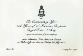 A Dinner in 2005 at Kirkee Barracks to raise money for Wivenhoe War Memorial Fund