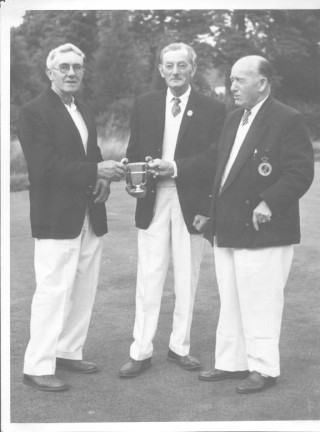 Claude Watsham (centre) with two other members of Wivenhoe Bowls Club, Mr H.Green (left) and ???  | Wivenhoe Encyclopedia