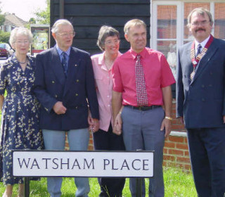 The unveiling of Watsham Place road sign by Wivenhoe Town Mayor, Cllr Steve Ford, with Ray Watsham and his family - Saturday 11th August, 2001. From left: Mrs and Mr Ray Watsham, with daughter Rowena and her husband, with Town Mayor Cllr Steve Ford | Photo: Peter Hill