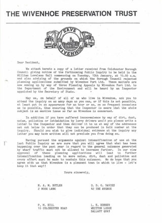 The letter sent to all residents by the 4 trustees of the Wivenhoe Preservation Trust in December 1984 concerning the Appeal hearing starting on 15th January 1985.