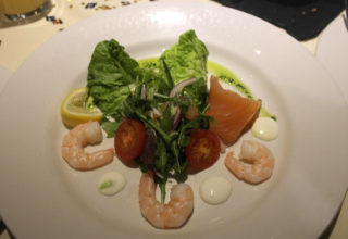 A Smoked Salmon and Prawn Salad with a Wasabi Mayonnaise not untypical of the quality of the food served at The Bakehouse Restaurant