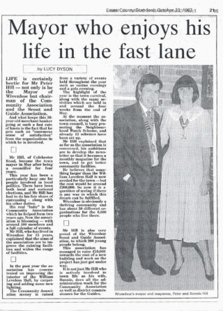 Wivenhoe Town Mayor 1987 - 88 Cllr Peter Hill with his wife Bonnie    Article and picture from the Essex County Standard 23rd Oct 1987