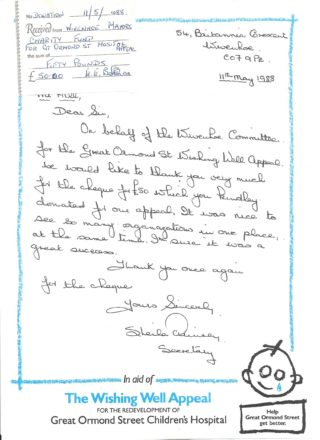 Letter of thanks from Sheila Quinney to Cllr Peter Hill, Wivenhoe Town Mayor, for the grant of £50 from the Wivenhoe Mayor's Charity Fund in 1988
