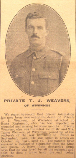 The report which appeared in the Essex County Standard confirming the death of Private Tom Weavers.