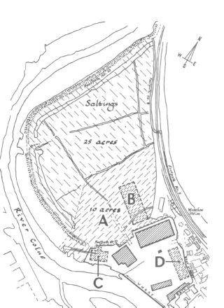 The area of land and marsh in Wivenhoe opposite Rowhedge bought for use by Wivenhoe Port Ltd
