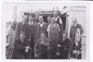 Workmates of Bobby Johnson in the Wivenhoe Shipyard, possibly working on the minesweeper Calton  | Photo loaned by Neil Johnson