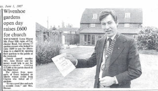 Cllr Peter Hill, Wivenhoe Town Mayor, who opened his garden at Toad Hall in 1987  | Photo and article from ECS published 1st June 1987