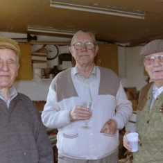 Phil Faucheux, Roy Hemstedt, and Ralph Moss in one of the huts  | Photo by Peter Hill