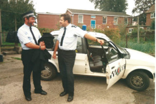 PC Sid Cox with a colleague in the yard behind the Council offices | Photo by Peter Hill