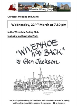 Poster for the Wivenhoe History Group's 4th Annual Meeting with Speaker Gendower Jackson