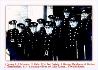 Retained firemen at the fire station in Brook Street, all probably workers at Cooks Shipyard. | Photo supplied by Helen Douzier and names by Graham Oliver, Sammy Oliver's son.