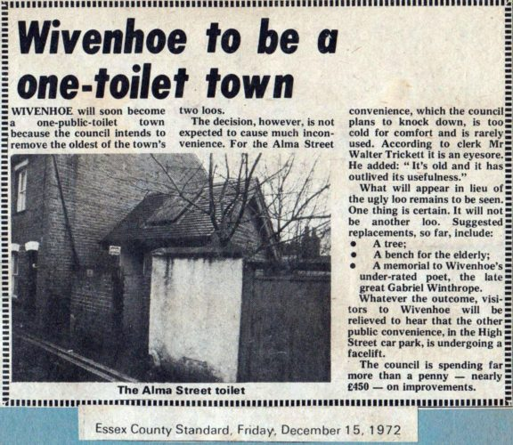 Newspaper cutting from the Essex County Standard in 1972 reporting that the Council was closing the the men's toilet in Alma Street,