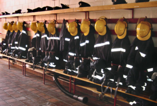 Uniforms in the new Fire Station, in Colchester Road  | Photo by Peter Hill, taken in 2002