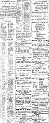 Cutting from a newspaper in April 1884 highlighting the fund-raising efforts at the time.