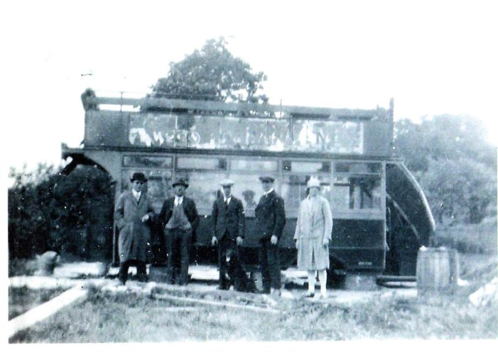 The old bus at the top of the field owned by the Scofield family before it  became the KGV paying field | Original picture owned by Charles Scofield