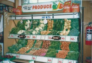 The vegetable shelves inside Bartons Stores after 'modernisation' in the 1980s  | Photograph loaned by Mrs Pat Green