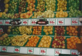 The fruit shelves inside Bartons Stores after 'modernisation' in the 1980s  | Photograph loaned by Mrs Pat Green
