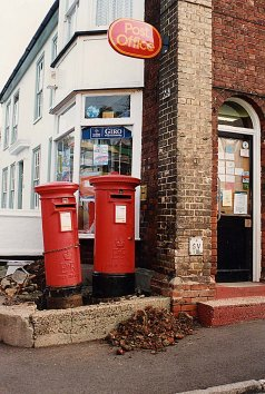 The two pillar boxes standing outside the 'old' Post Office on the corner of the High Street and Queens Road  | Photograph by Sue Murray ARPS