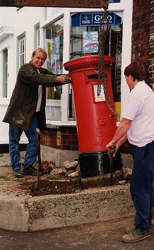 The second of two pillar boxes being moved | Photograph by Sue Murray ARPS