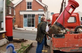 The two pillar boxes being moved | Photograph by Sue Murray ARPS