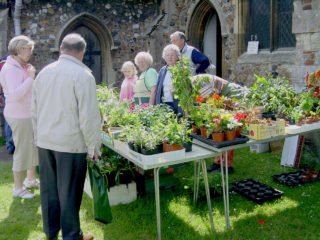 Sylvia Usher in charge of the Plant Stall at St Mary's Church's June Market - 2007 | Photo by Peter Hill