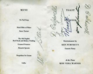 The menu card of the dinner held to mark the launching of the coastal minesweeper, Calton, in 1953.  THis menu card was kept by shipyard worker Alf Jefferies. | Copyright Lynn Ballard