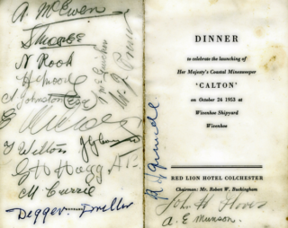 Alf Jefferies' menu card with the signatures of his fellow shipyard workers who also attended the dinner held to celebrate the launching of the Calton. | Copyright Lynn Ballard