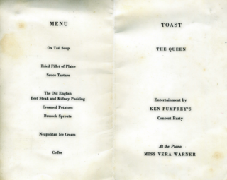 The menu card of the dinner held at the Red Lion Hotel in Colchester which was kept by Alf Jefferies aged 21. | Copyright Lynn Ballard