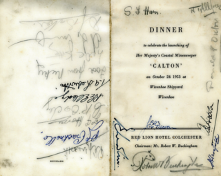 The menu card at the Calton dinner with signatures of other people attending along with Alf Jefferies. | Copyright Lynn Ballard