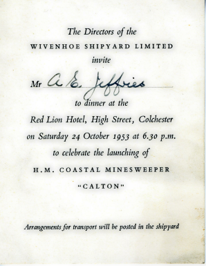 The invitation to Alf Jefferies aged 21 to the dinner to mark the launching of the Calton in 1953. | Copyright Lynn Ballard