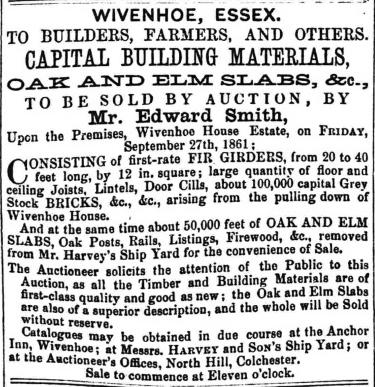 Sale of Capital Building Materials 27 September 1861   Essex Standard 11 September 1861