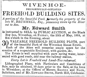 Auction of 30 building plots from the Wivenhoe House Estate 20 May 1864   Essex Standard 13 May 1864