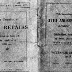 The front and back cover of the complimentary notebook created to help promote the Wivenhoe Shipyard which became owned by Otto Andersen in February 1925  | Scanned copy from the Wivenhoe Memories Collection