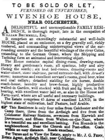 Wivenhoe House: For Sale or To Let   Essex Standard 11.04.1856