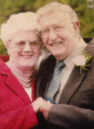 Elsie and Roland Wheeler celebrating their marriage  in 1994 at the Colchester Registry Office