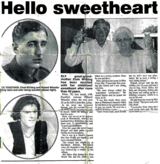 The newspaper cutting which reported on Elsie and Roland Wheeler's story