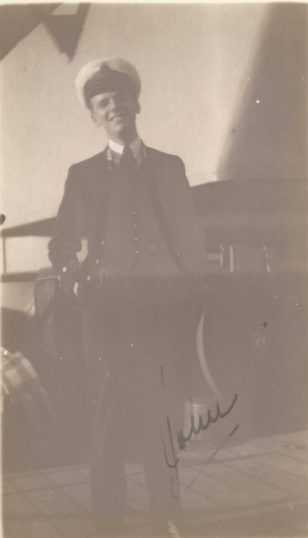 John-Lee Barber on board H.M.S. Revenge in Algiers , February 1925. | Photograph loaned by Ralph de Butler