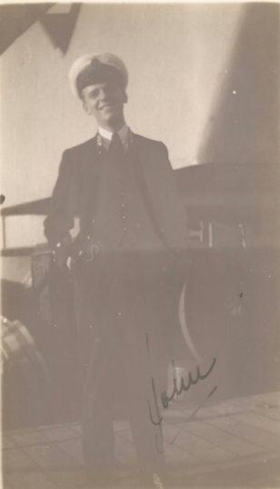 John-Lee Barber on board H.M.S. Revenge in Algiers , February 1925.   Photograph loaned by Ralph de Butler