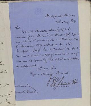 Letter from Governor of Parkhurst prison