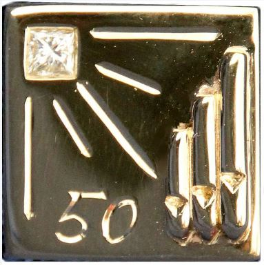 Close Up Of Graham Wadleyu0027s Especially Designed Lapel Pin Wih Its Organ  Pipe Design And Diamond Decoration.