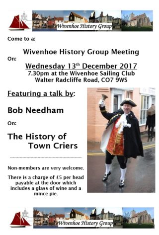 History Group meeting Wed 13th December 2017