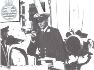 Midshipman Tim Sherwen on board HMS Stanton in 1957