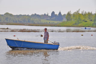 John Stewart in his boat on the River Colne - May 2016