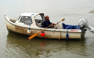 John Stewart in his other boat which he called Pugwash | Photo by Pip Scott