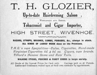 An early advertisement for Glozier's hairdressing salon and tobacconists | Wivenhoe Memories Collection