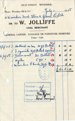 An invoice issued by Jolliffe's for haulage of sand and ballast | Wivenhoe Memories Collection