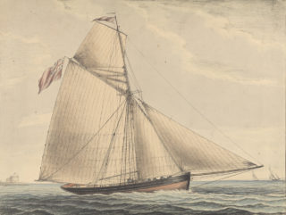 Broadside view of the yacht Pearl near Calshot Castle, Southampton River | © National Maritime Museum, Greenwich, London