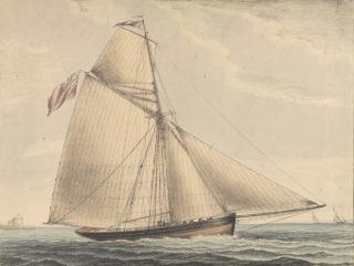 Broadside view of the yacht Pearl near Calshot Castle, Southampton River | © National Maritime Museum, Greenwich, London